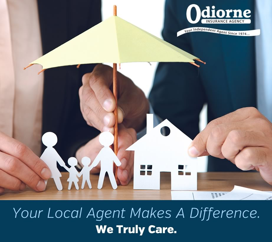 local insurance agent image - graphic showing two business people holding up paper cutouts of a family, home and umbrella depicting protection...and that's what Odiorne Insurance is all about. Protecting you and your family. Call today for a fast and friendly insurance quote. We are looking forward to serving you. Insurance can not be bound or written through this website. Our website is here for information purposes only. Please contact our office to speak with a licensed agent and we'll be happy to assist you. You may use our website to request a call or click on any call us buttons to reach us during normal business hours. Thank you again and we look forward to serving you.