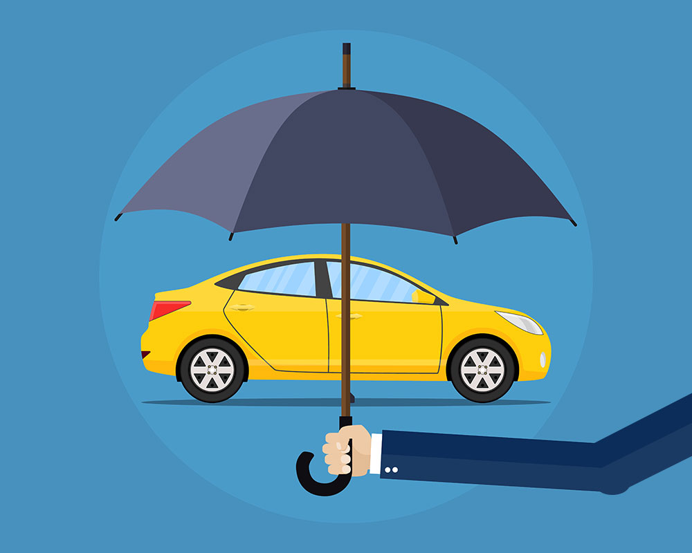Auto insurance coverage graphic. Umbrella covering a yellow 4 door midsize car. If you need auto coverage, call Odiorne Insurance today.