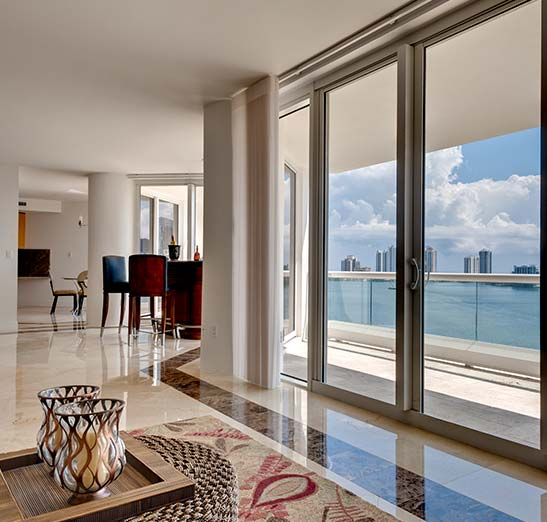 Beautiful bay view from interior sliding doors of luxury condo.