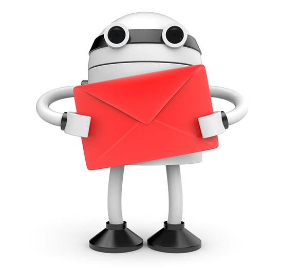 Email Icon graphic robot holding red letter. Cute, Fun, Cool robot.