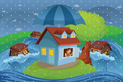Flood Insurance Brandon Fl - flood insurance graphic with small house surrounded by water protected by umbrella.
