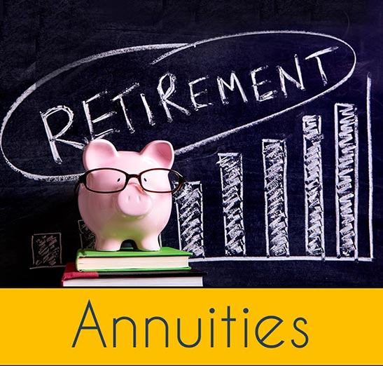 Retirement planning graphic showing an educated pig (pink piggy bank wearing glasses) with retirement written on a chalk board in the background and a line graph with bars going up in the background. Annuities written in the bottom of the banner. Call our office if you're interested in Annuities. Odiorne Insurance is here for you. Serving your insurance and financial planning needs for more than 40 years.