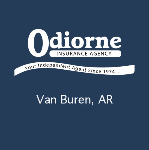Odiorne Insurance logo on blue background with the city of Van Buren, Arkansas shown below the logo. Odiorne Insurance proudly serves the Van Buren Arkansas area. This image is not clickable. A decorative logo image only.